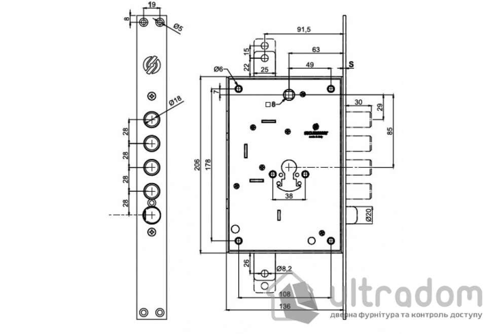 Механизм замка Securemme 2603 цилиндровый