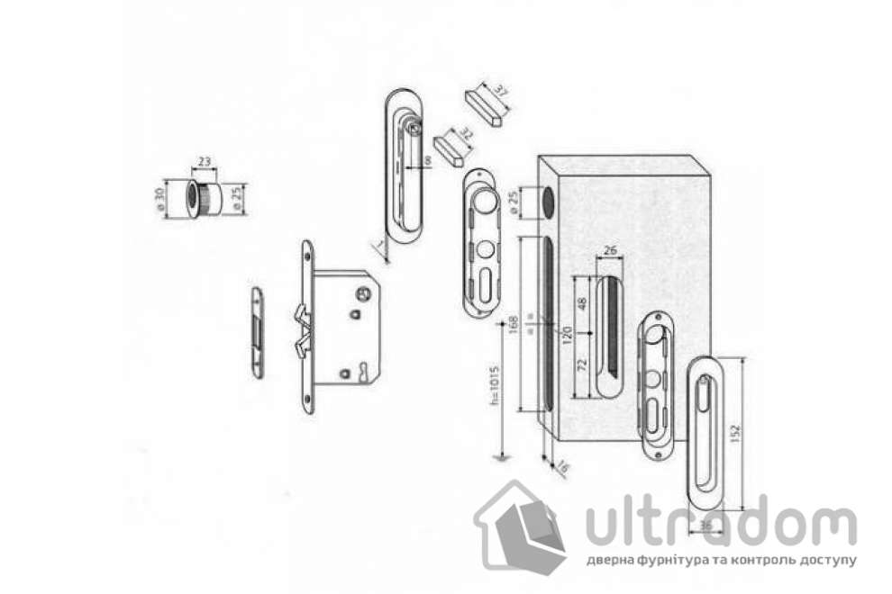 Ручки - ракушки для раздвижных дверей AGB, комплект с механизмом WC , цвет - матовый хром