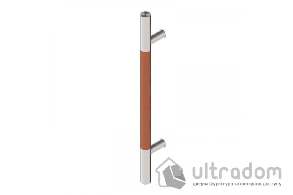 Дверная ручка-скоба Wala P10D нерж. сталь с деревянной вставкой Ø30 мм односторонняя