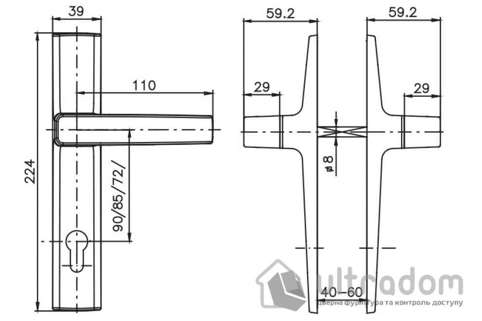 Дверная ручка ROSTEX OFFICE mov-mov PZ ручка-ручка 72|85|90 хром сатин