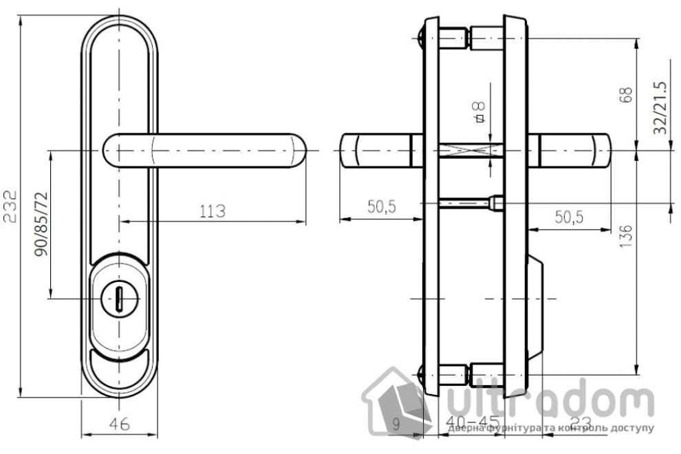 Фурнитура защитная ROSTEX R4 Decor 4 класс латунь 72-85-90