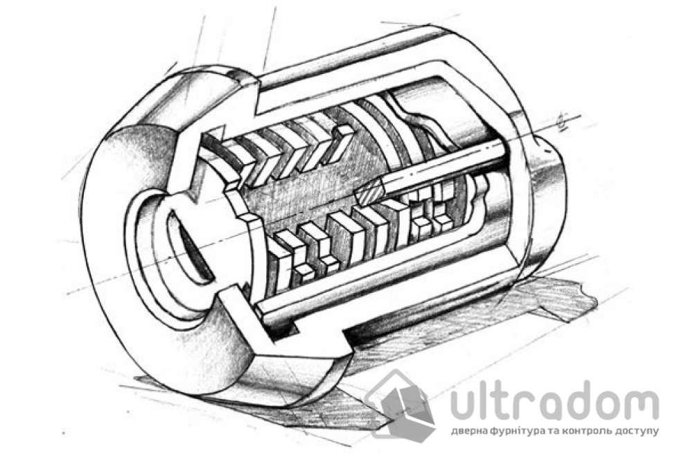 Замковый цилиндр ABLOY Protec 2 ключ-вороток, 82 мм