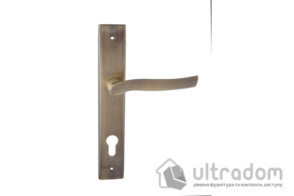 Дверная ручка на планке под ключ (85-62 мм) SIBA Verona античная бронза