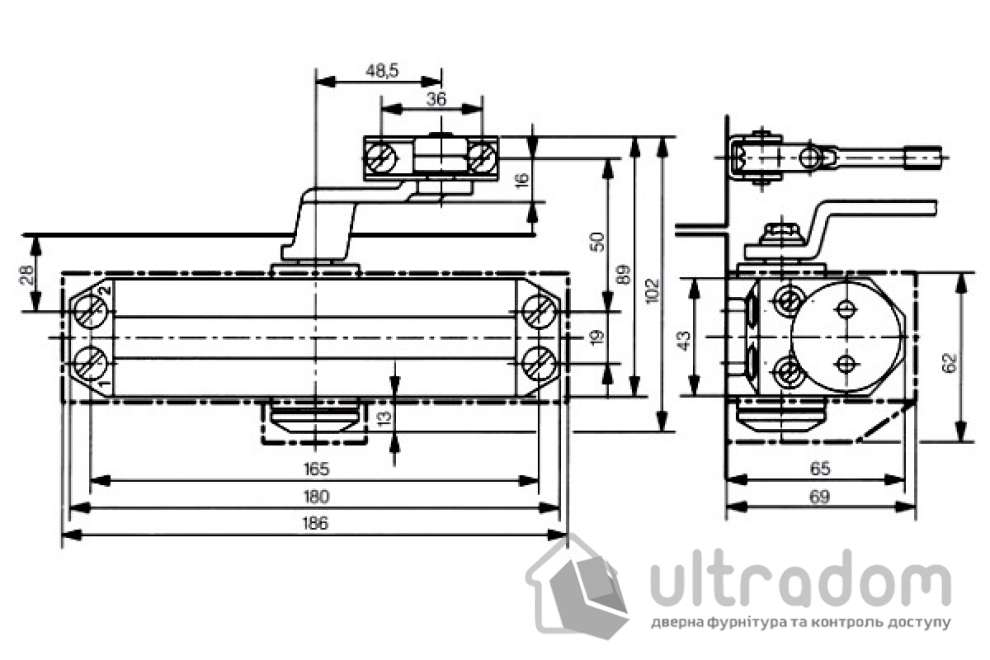 Дверной доводчик DORMA TS77 EN3, белый (76050111)