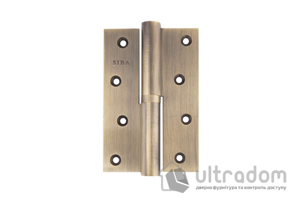 Петля дверная латунная SIBA 120 мм, усиленная, с регулировкой, цвет - античная бронза