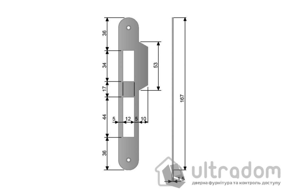 Ответная планка для замка AGB CENTRO PZ  с ровным отбойником, цвет - никель блестящий