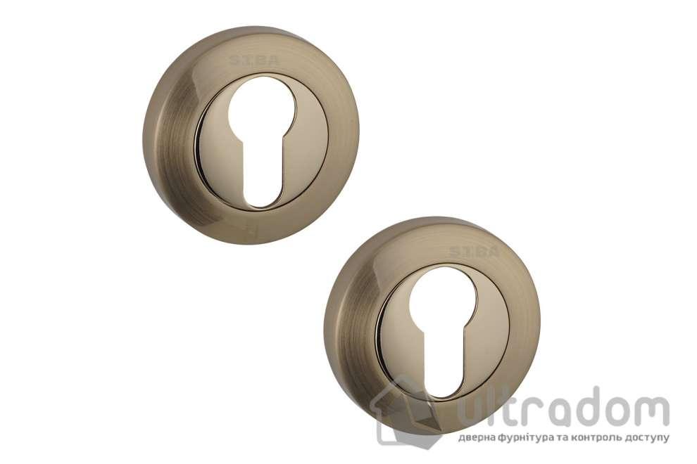 Накладки под цилиндр PZ SIBA R01 матовое золото / тёмное золото 21 11