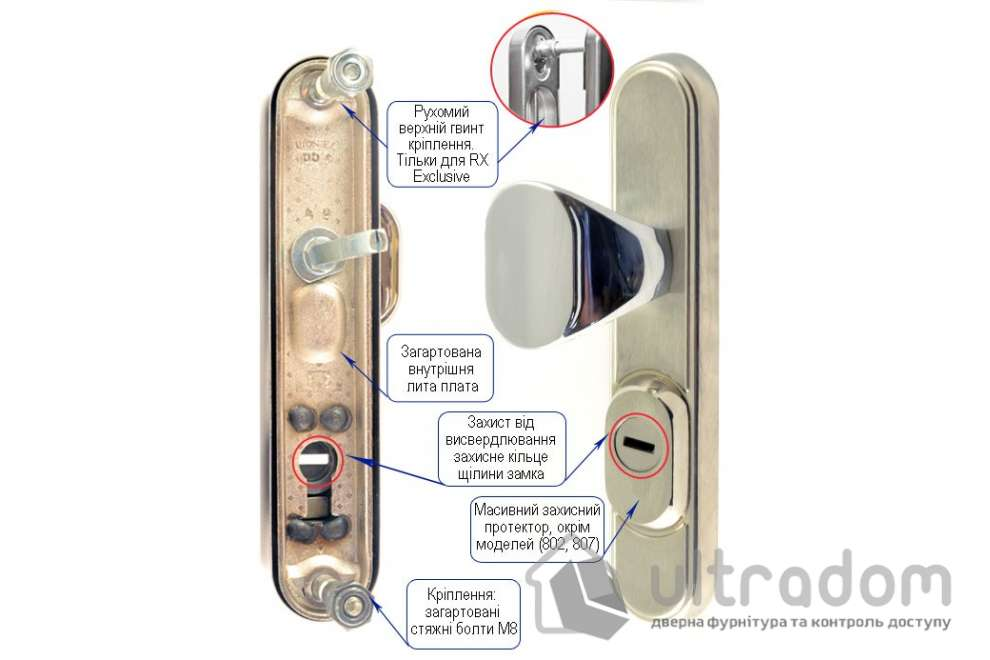 Фурнитура защитная ROSTEX R1 Decor 4 класс латунь с фикс. ручкой 72-85-90