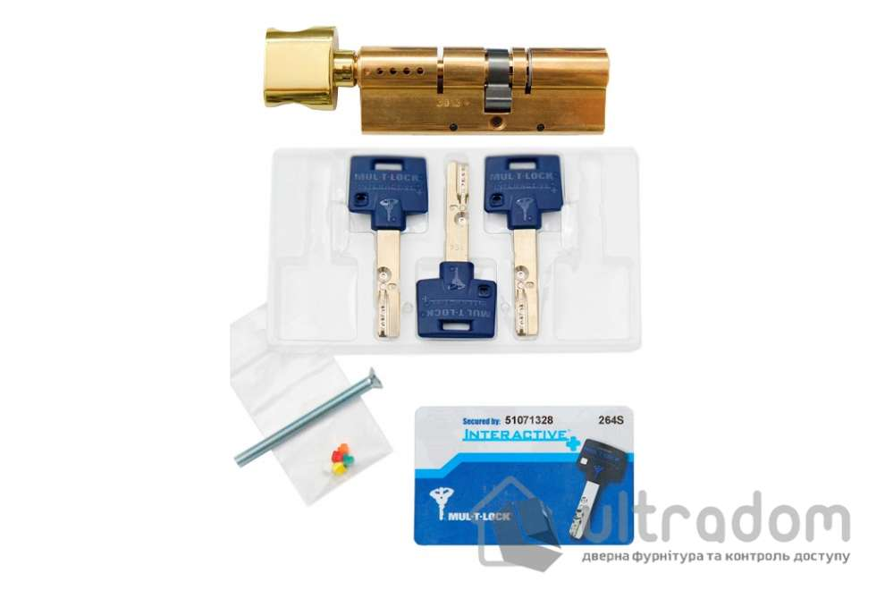 Цилиндр дверной Mul-T-Lock Interactive+ ключ-вороток., 71 мм