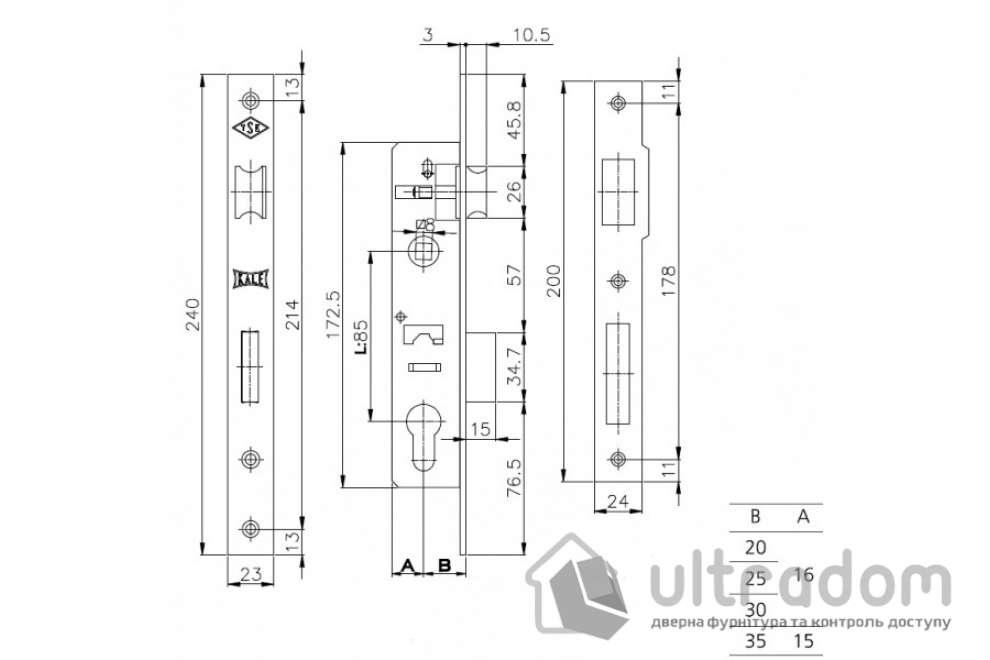 Корпус замка с защелкой SIBA 10053-25, для алюминиевой двери