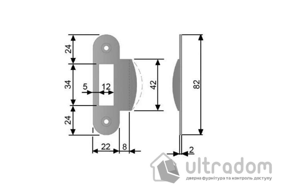 Ответная планка для замка AGB с загнутым отбойником, цвет - матовая латунь