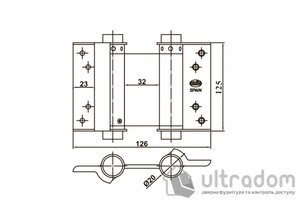 Петля маятниковая AMIG мод. 3037 барная, 125х126 мм, никель (9819)