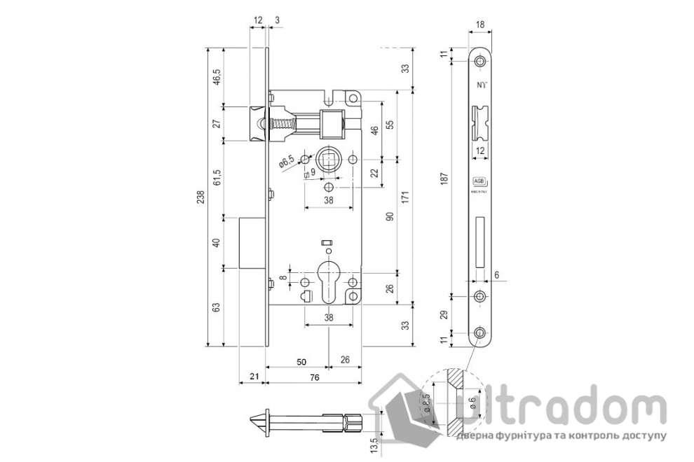 Корпус замка основного AGB Siccureza, торцевая - 18 мм, цвет - латунь