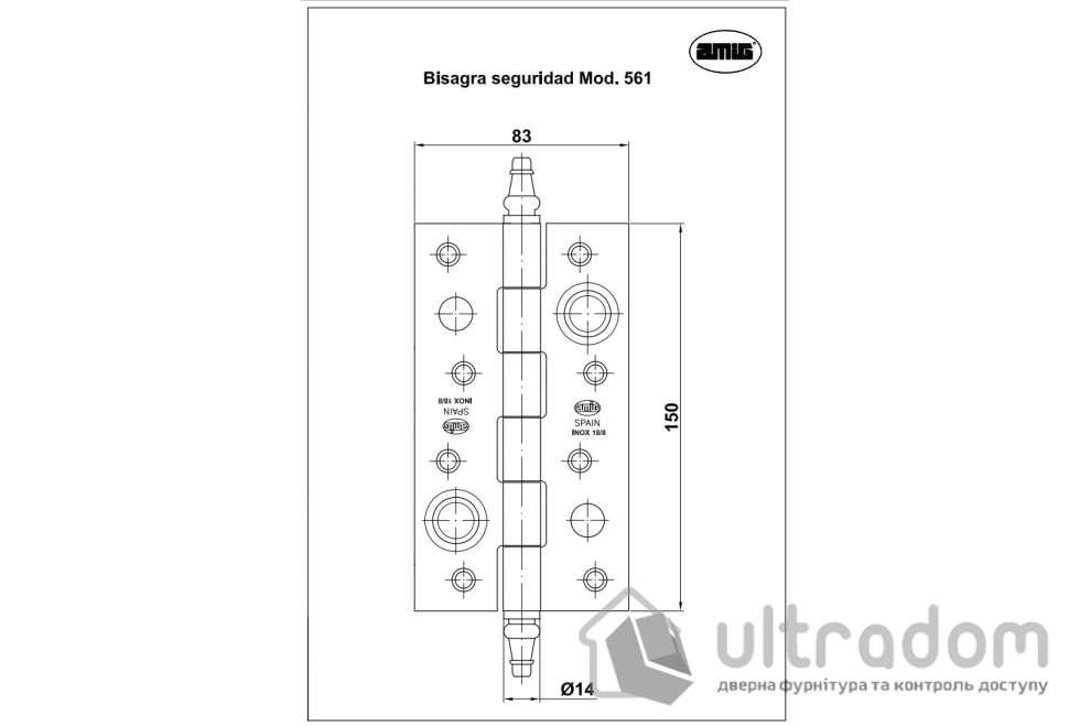 Дверная петля из нержавеющей стали AMIG m.561 150x80x2.8 мм