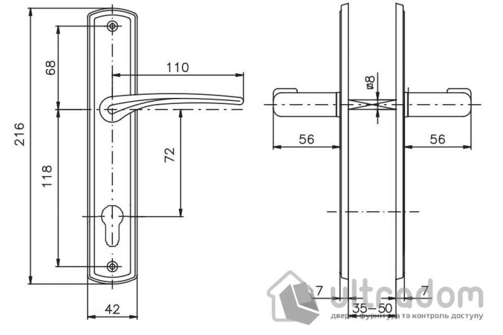 Дверная ручка ROSTEX KREDO  PZ ручка-ручка 72 мм латунь полироованная