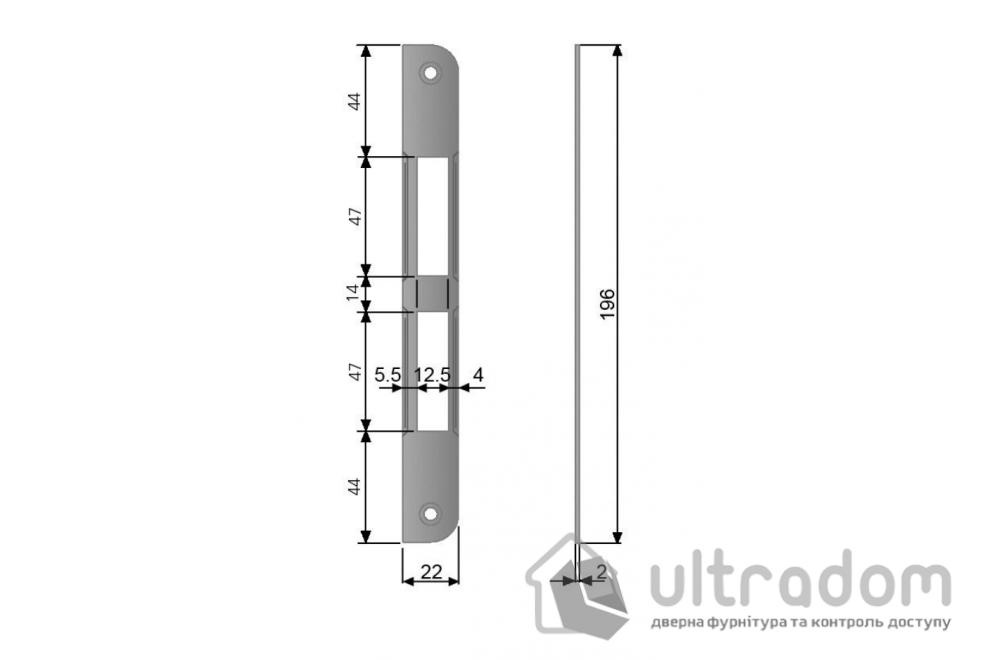 Ответная планка для замка AGB CENTRO PZ без отбойника, цвет - матовый хром