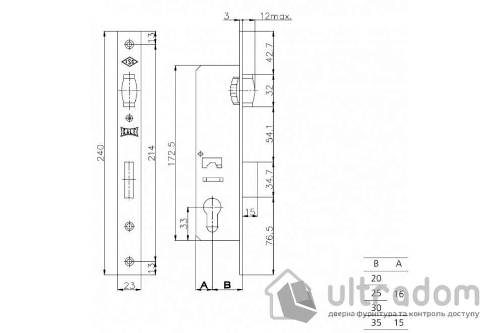Корпус замка с роликом KALE 155-20 для алюминиевой двери.