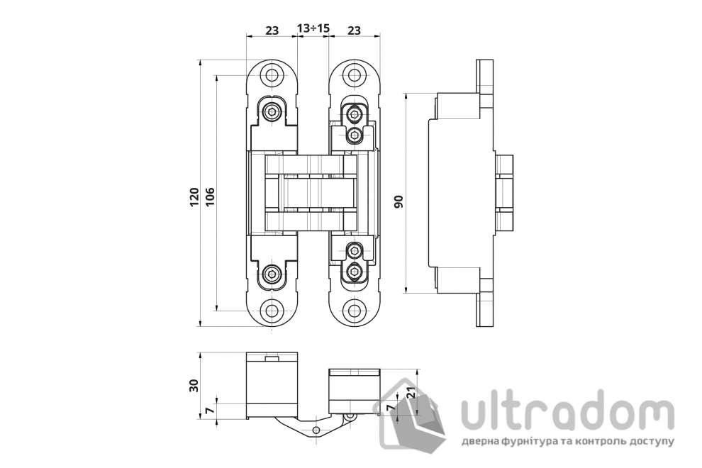 Скрытая 3D петля OTLAV  Invisacta IN235 120х23мм, нейлоновый корпус, матовый хром с колпачками (IN235120V704)
