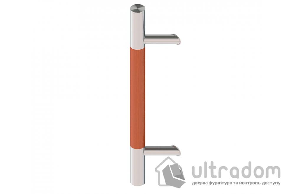 Дверная ручка-скоба Wala P45D нерж. сталь с деревянной вставкой Ø40 мм под углом 45° односторонняя