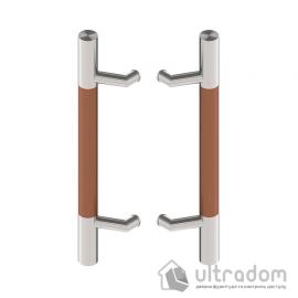 Дверная ручка-скоба Wala P44D Ø40 мм нерж. сталь с деревянной вставкой двухсторонняя