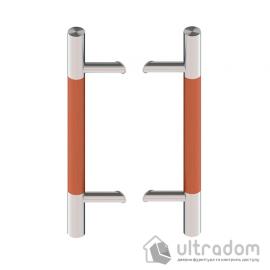 Дверная ручка-скоба Wala P45D Ø40 мм нерж. сталь с деревянной вставкой под углом 45° двухсторонняя