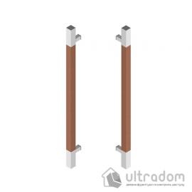 Дверная ручка-скоба Wala Q10D 40х40 мм нерж. сталь с деревянной вставкой двухсторонняя