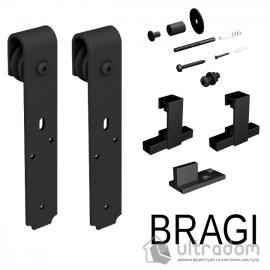 Комплект фурнитуры раздвижной системы Mantion BRAGI  в стиле LOFT, матовая чёрная