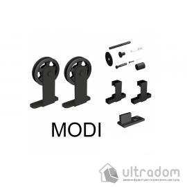 Комплект фурнитуры раздвижной системы Mantion MODI  в стиле LOFT (ролики с перфорацией). матовая чёрная
