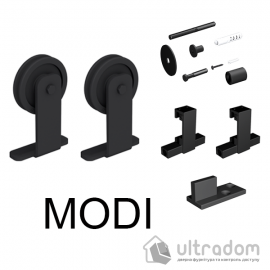 Комплект фурнитуры раздвижной системы Mantion MODI  в стиле LOFT, матовая чёрная
