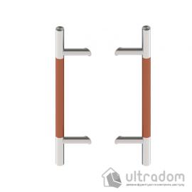 Дверная ручка-скоба Wala P45D Ø30 мм нерж. сталь с деревянной вставкой под углом 45° двухсторонняя