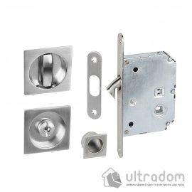 Дверные ручки-ракушки квадратные Valcomp с механизмом WC,  никель (372-301)