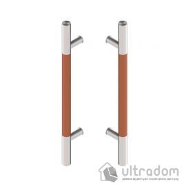 Дверная ручка-скоба Wala P10D Ø30 мм нерж. сталь с деревянной вставкой двухсторонняя