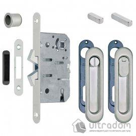 Замок с ручками для раздвижных дверей AGB Scivola-TT WC, матовый хром