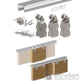 Комплект подвесной раздвижной системы Valcomp HORUS HR24 для шкафа-купе до 2400 мм, 3 створки до 45 кг (212-016)