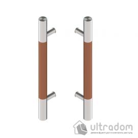 Дверная ручка-скоба Wala P10D Ø40 мм нерж. сталь с деревянной вставкой двухсторонняя
